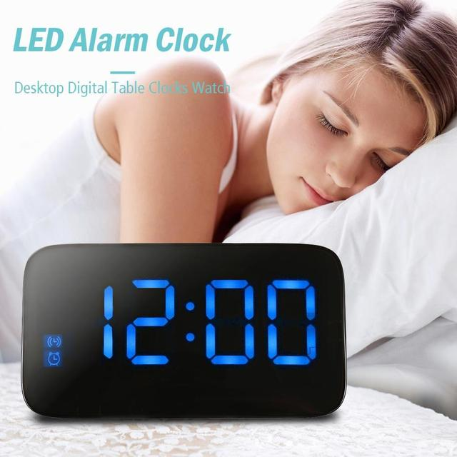 LED  Digital Electronic Display Watch Alarm With Large Backlight USB Snooze Clocks  Voice Control Table Cable Desktop Home Decor