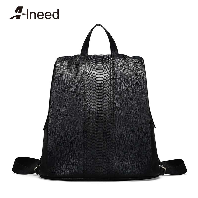 ALNEED Women Genuine Leather Backpacks for Girls Shoulder Bag Female Zipper School Preppy Style 2019 Mochila Luxury DesignerALNEED Women Genuine Leather Backpacks for Girls Shoulder Bag Female Zipper School Preppy Style 2019 Mochila Luxury Designer