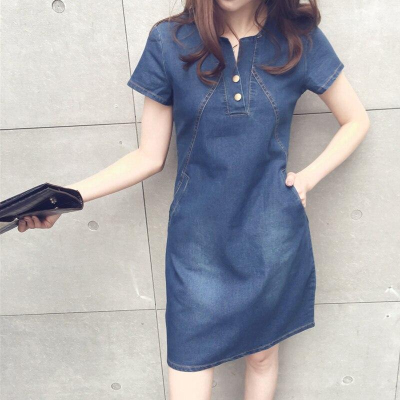 2019 novo vestido de festa sólido verão venda quente moda feminina jean tamanho grande senhora magro manga curta mais vestidos femininos
