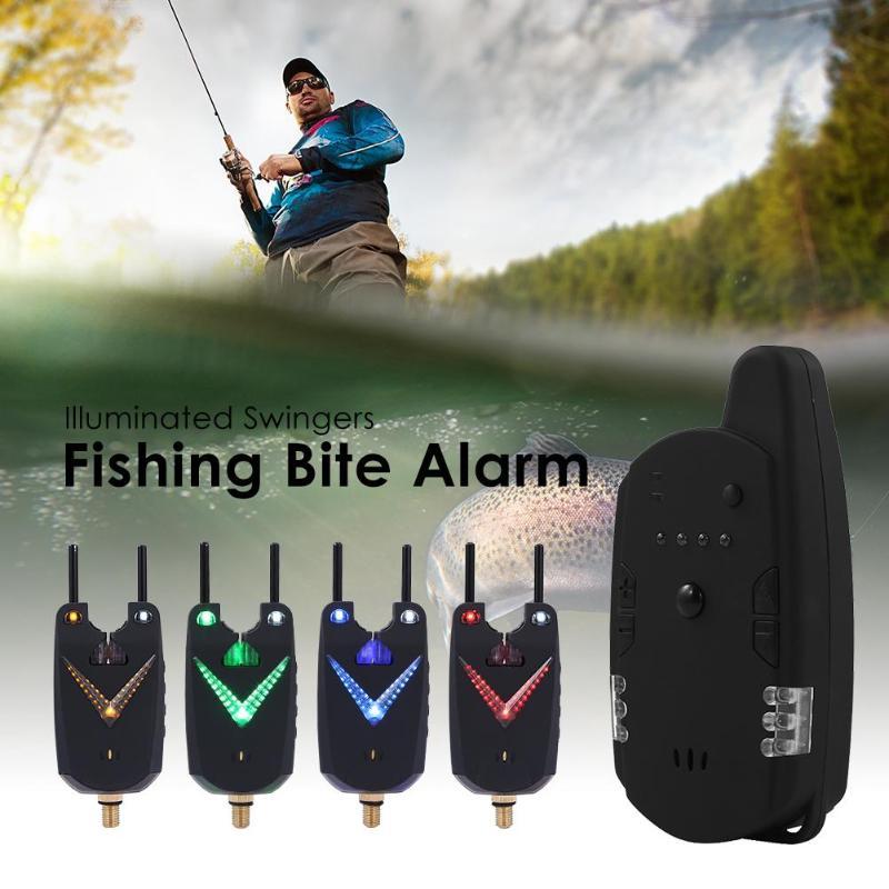 JY-59 sans fil carpe morsure alarme canne à pêche illuminé échangistes Anti-off Bar alerte Set de pêche attirail indicateur d'alarme