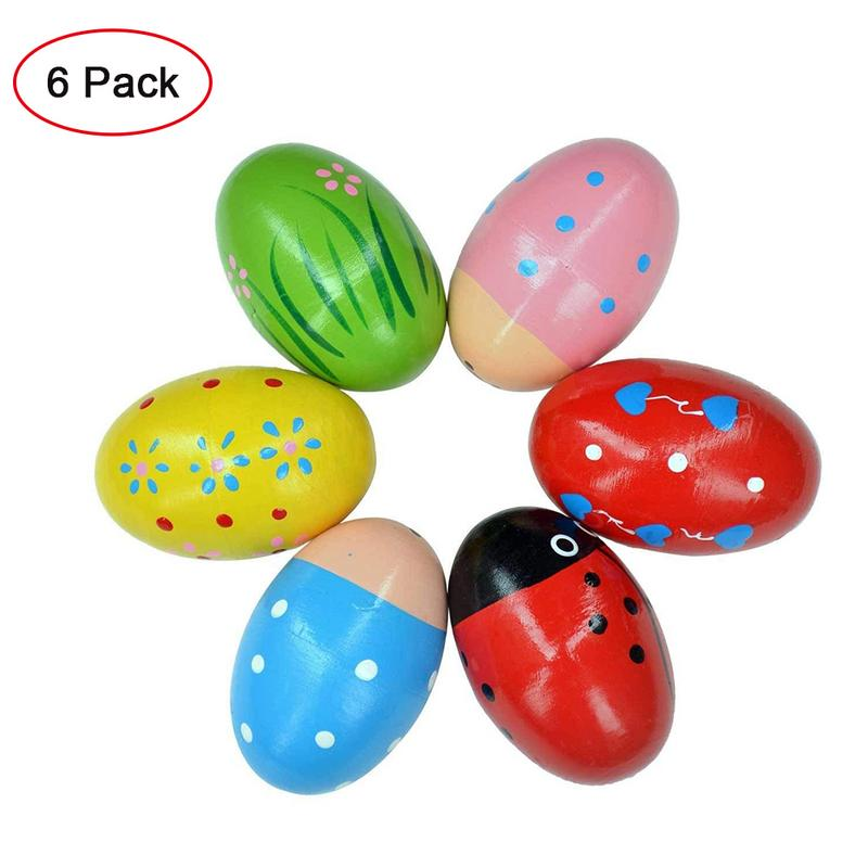 6PCS Wooden Percussion Musical Egg Easter Maracas Egg Vibrating Shaker Kids Toys Musical Instrument