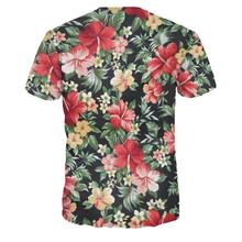 Unisex Flower Floral Print Casual 3D Short Sleeve Round Collar T-Shirt