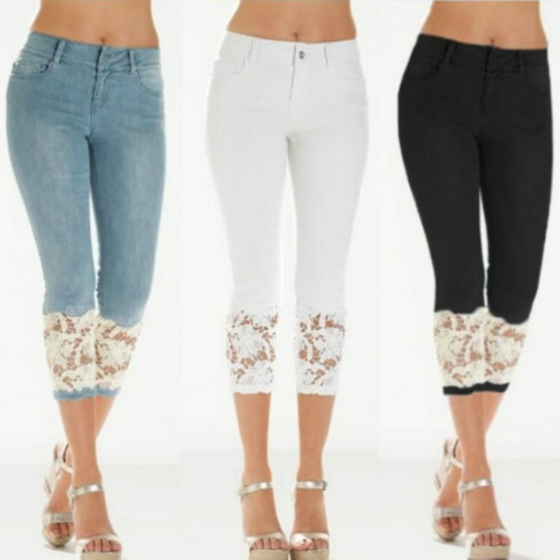 Korean Vinage Lace Women's Jeans Cropped Trousers Spring Summer Embroidery Lace Push Up Pants Sexy Ladies Plus Size 3XL