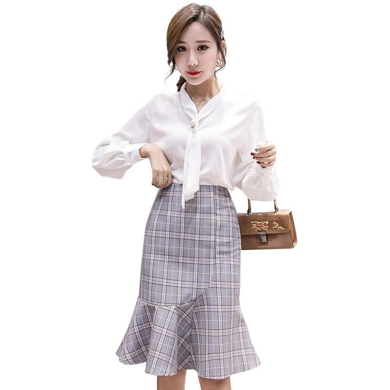 Women's Ruffles Hem Skirts Sexy Mermaid Plaid Dot High Waist Knee Length Office Ladies Skirt 2019 Spring Korean Elegant Faldas