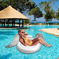 Adult Super Large Swim Air Mattress Flamingo Swan Shape Water Inflatable Riding Angel Wings Net Seat Inflatable Floating Row