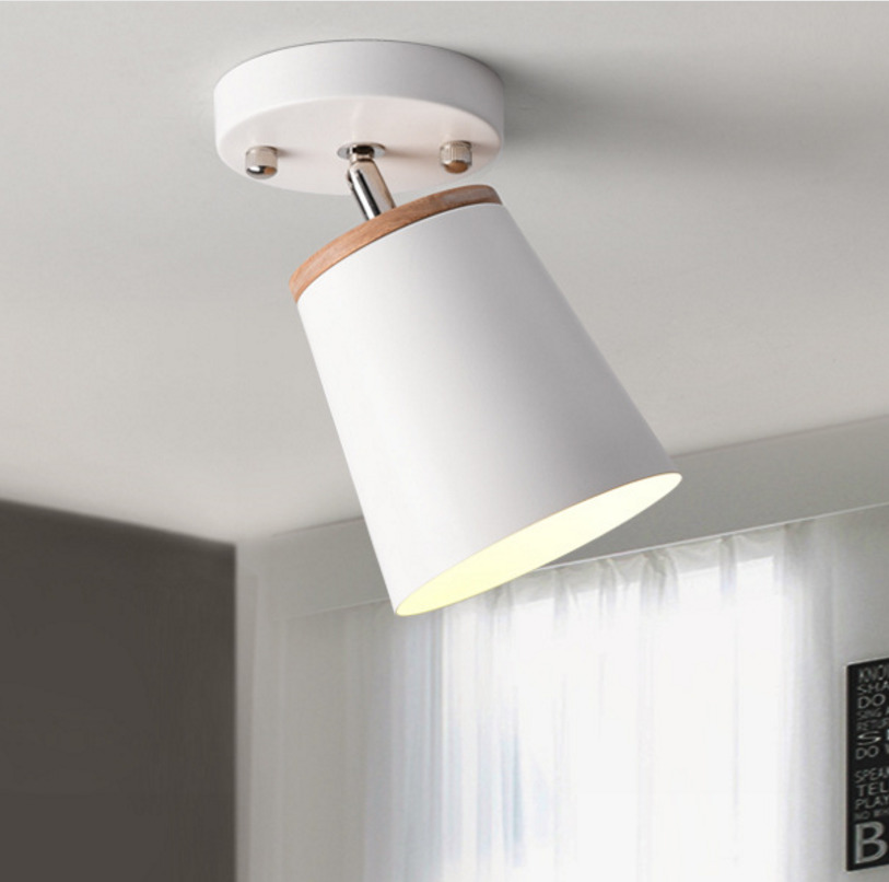 Modern Led Ceiling Light Fixture Iron Lampshade With Wood Adjustable Angle Nordic Indoor Hanging Lamp Corridor Aisel E27 White