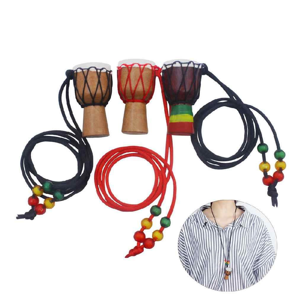 IRIN Wooden Classic Mini Djembe Drummer Necklace Percussion African Hand Drum Pendant Gift Individuality Bongo Accessories Toy