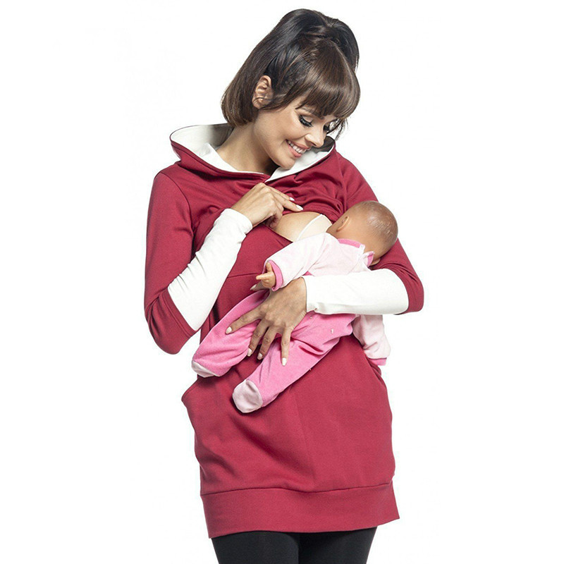 Maternity Nursing Hoodie Winter Pregnancy Clothes For Pregnant Women Breastfeeding Hooded Tops T Shirt Autumn Lactation Clothing