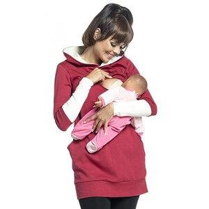 Image 1 - יולדות סיעוד הסווטשרט חורף הריון בהריון נשים סלעית חולצות T חולצה סתיו בגדי הנקה