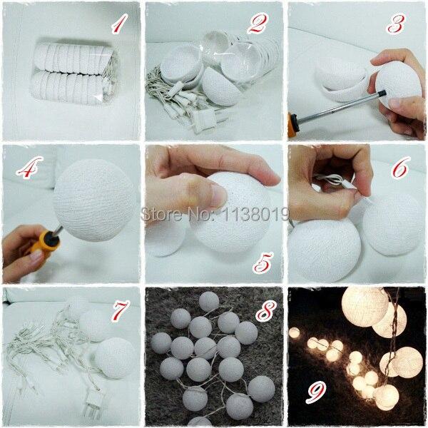 Decorative Ball Lights Extraordinary 20Pcsset Cotton Ball String Lights Fairy Party Wedding Home 2018