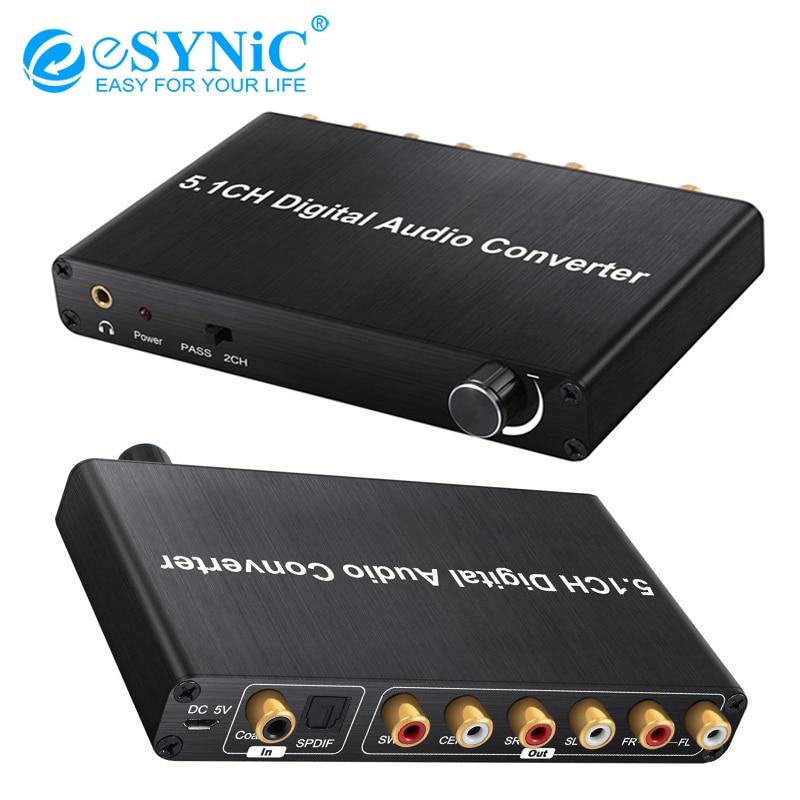 ESYNiC 192kHz DAC décodeur contrôle du Volume pour ajustement Dolby AC-3/DTS numérique à 5.1CH analogique et 3.5mm Jack adaptateur convertisseur Audio