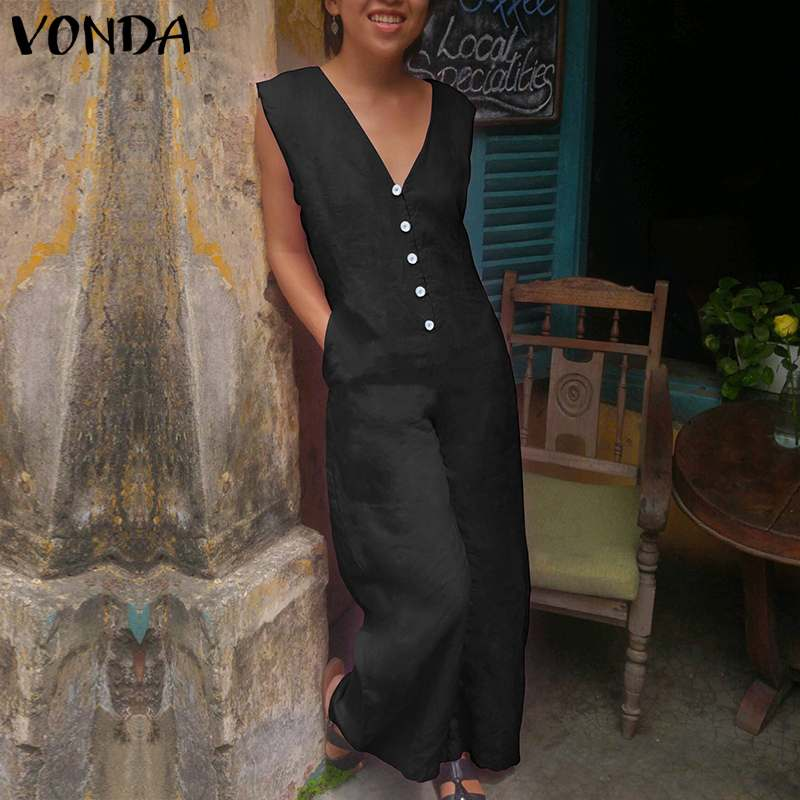 VONDA Women Vintage Wide Leg Pants 2019 Rompers Womens   Jumpsuits   Cotton V Neck Sleeveless Playsuit Casual Long Overall Plus Size