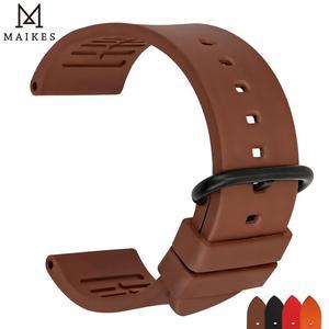 Image 5 - MAIKES Qualität fluororubber uhrenarmbänder 20mm 22mm 24mm Orange gummi uhr strap band uhr zubehör für sport tauchen uhren