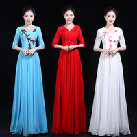 Chinese Hanfu Stage Costumes For Singers Disfraz Lady New Year's Day Chorus Dress Choir Costume Stage Performance Suit Group