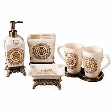 Европейская креативная керамическая парная чашка, керамической держатель для зубной щетки, керамическая эмульсионная бутылка для ванной комнаты, мыльницы для ванной комнаты, J18314