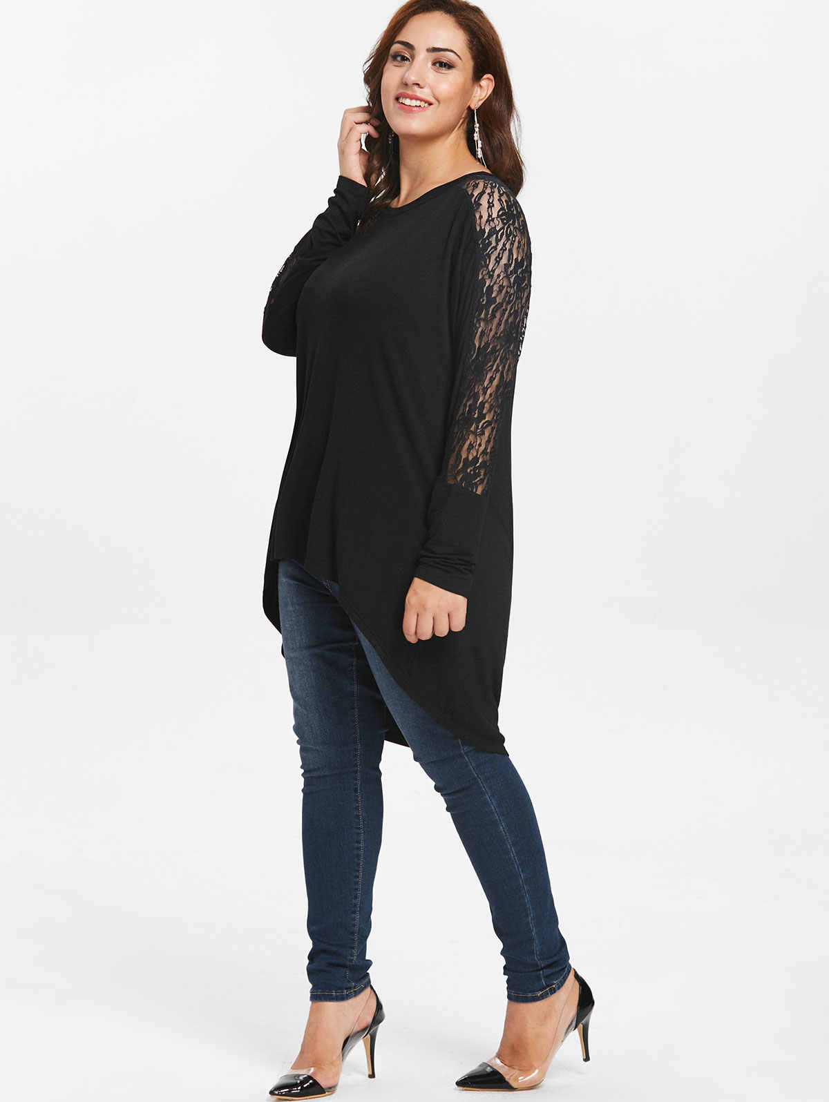Wipalo Plus Size Lace High Low T-Shirt Fall Spring O Neck Long Sleeve Solid Casual Shirt Tees Women T-Shirt Clothing Big Size