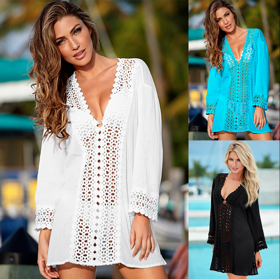 Summer Beach Mini Dress Sexy Women Lace Crochet Bikini Cover Up Hollow Out Loose Summer V Neck Swimwear Bathing Suit