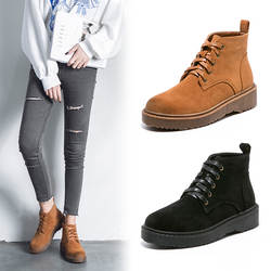 Женские ботильоны martin с круглым носком на среднем каблуке, модные однотонные мотоботы в стиле панк, повседневная обувь на шнуровке
