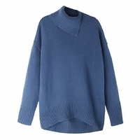Aoshe autumn winter cashmere sweater female pullover irregular collar sweater women solid color lady basic sweater