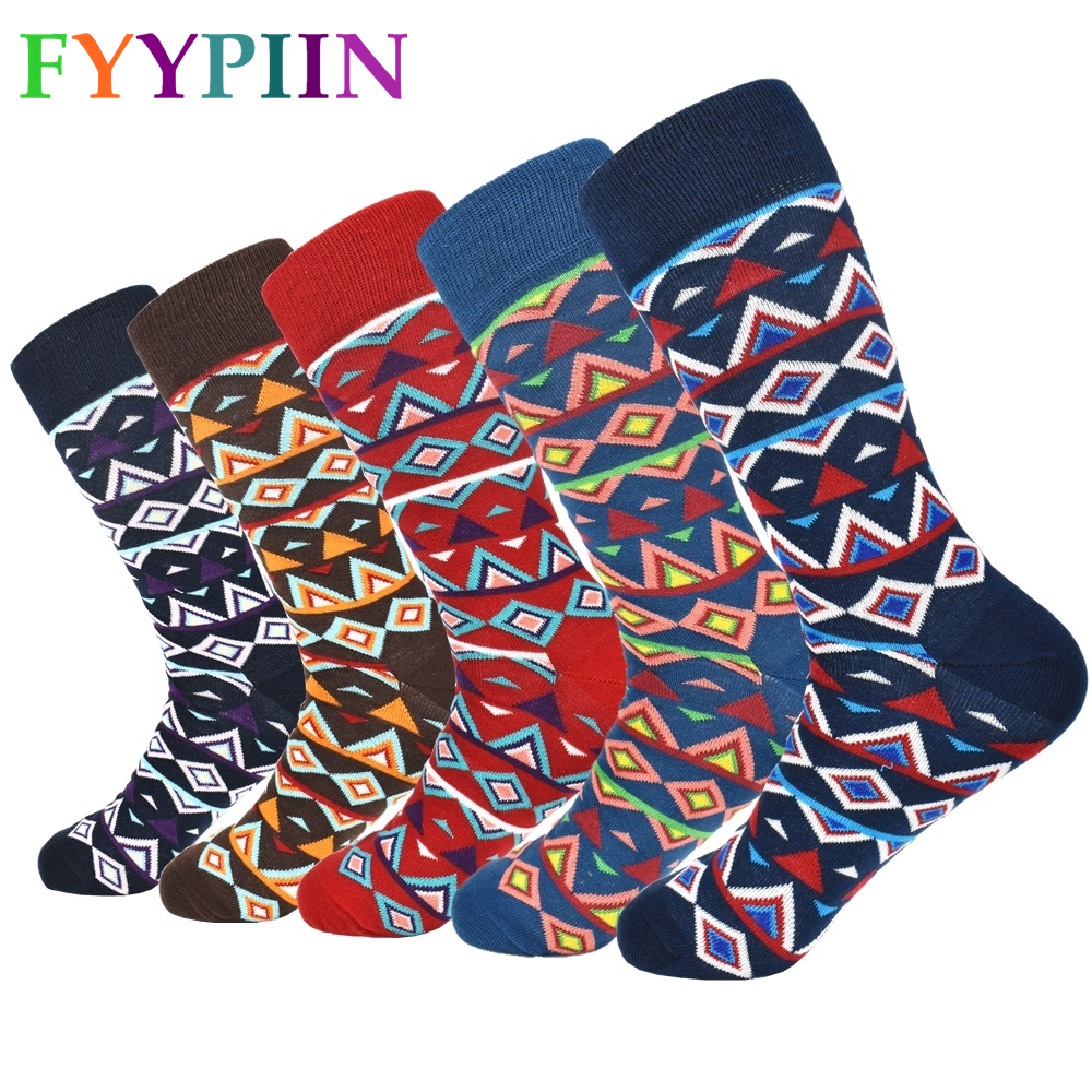 Sokken Real Funny Socks Socks Men 2019 New High Quality Long National Wind Leisure Cotton Latest Design Happy Clothes (5 Pairs)