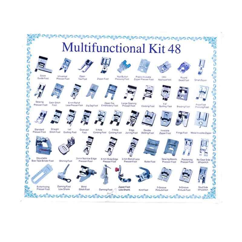 48 piezas Multi-función doméstico máquina de coser prensatelas pies hermoso embalaje, almacenamiento conveniente
