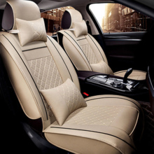 2x Car Front Driver Passenger Seat Cover Beige PU Leather Universal black coffee beige yellow red brand luxury car leather seat cover front