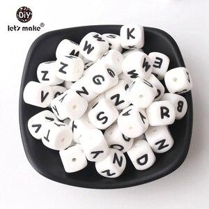 Image 3 - Lassen sie Machen Silikon Alphabet Brief Perlen 10mm 50pc BPA Fress Silikon Beißring DIY Zahnen Halskette Perlen Pflege anhänger