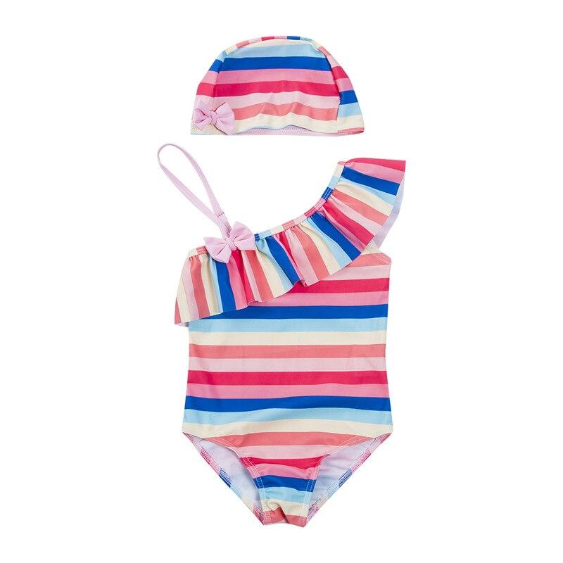 Toddler one piece Suits Kids Baby Girls Tankini Bikini Rainbow Colours Striped Swimwear Bathing Suit Swimsuit 1 6T in Children 39 s One Piece Suits from Sports amp Entertainment
