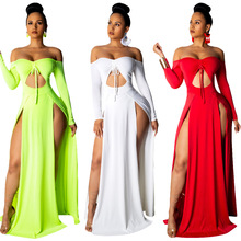 Cross-Border Hot Female Solid Color Cutout Slit Dress Long-Sleeve off-the-Shoulder Tie dress Three-Color