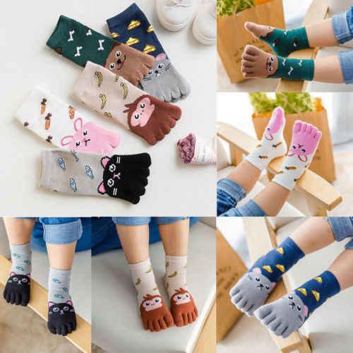 Милые хлопковые носки с рисунками животных для маленьких мальчиков и девочек, пять носок с пальцами, чулочно-носочные изделия