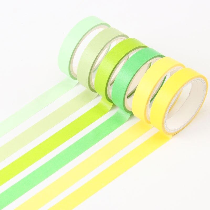 6Pcs/Set Kawaii Candy Color Washi Tape Decorative Adhesive Tape Cute Masking Tape For Kids DIY Scrapbooking Diary Photos Albums