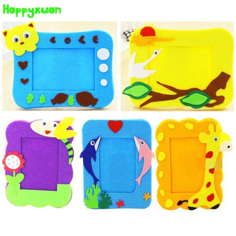 Happyxuan 4pcs/lot Kids DIY Felt Craft Kits Photo Frame Cartoon Animal Picture Kindergarten Baby Creative Education Toys