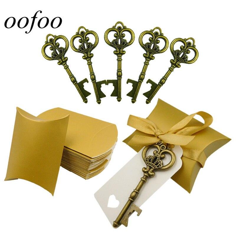 50 Set Bruiloft Gunst Souvenir Gift Set Kussen Snoep Doos Vintage Skeleton Key Flesopeners Tag + Lint + Box Aangenaam In De Nasmaak