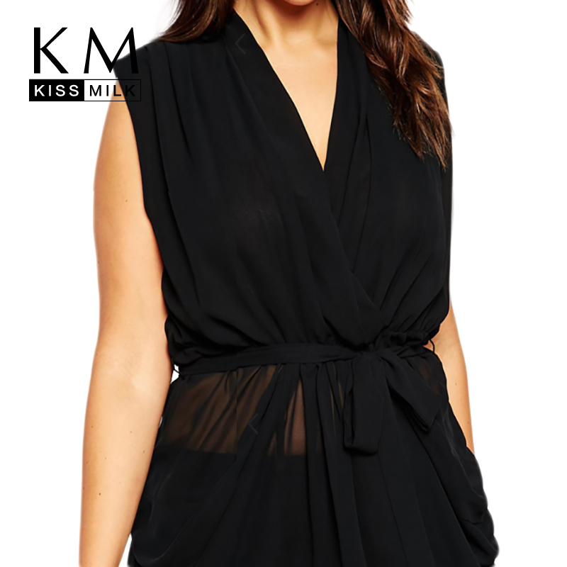 KissMilk Fashion Large Size Loose V-neck Chiffon