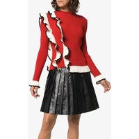 New Autumn Winter Ruffles Patchwork Knitted Sweaters Women Elegant O Neck Flare Sleeve Red Pullover Tops
