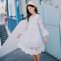 Flower Girl Dresses For Weddings 2019 New Little Kids White Party Girls Floral Dress Lace Embroidered Spring Summer Teen Clothes