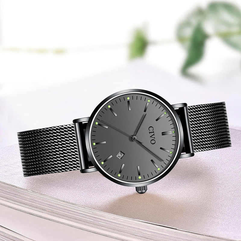 CIVO 高級トップブランドのラインストーンレディース腕時計防水発光レディースクォーツ時計スリム鋼メッシュ時計 Relojes Mujer