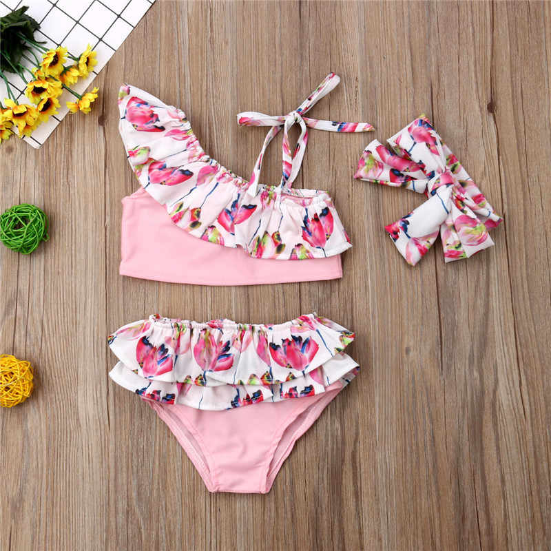 08e08820b12b8 Kid Swimwear Baby Girl Bathing Suit Floral Off Shoulder Swimsuit 3pcs Top +Shorts+Headband
