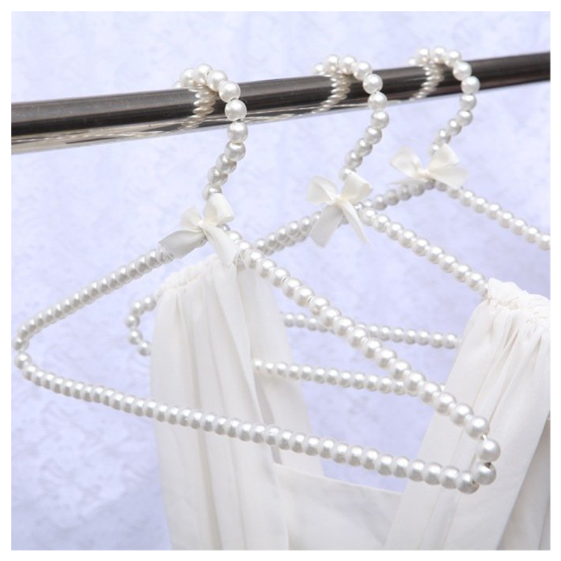 Faux Pearl Bow Clothes Hangers Hook For Children Kids Bowknot White