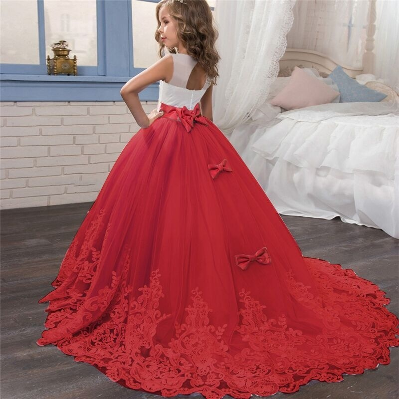 5-14 Years Teenager   Girls   Floor Length Red Embroidery Lace   Flower     Girls     Dress   for Pageant Wedding Bridesmaid Dressing Gowns