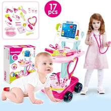 17PCS/SET Simulation Electric Electrocardiogram Medical Stethoscope Medicine Box Set Play House Toy Trolley for Children(China)