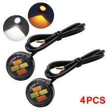 цена на 4pcs Eagle Eye Light 23mm LED DRL 12V Daytime Running Lights 5730 SMD Auto Car Turn Signal Lights Waterproof Fog Lamp Switchback