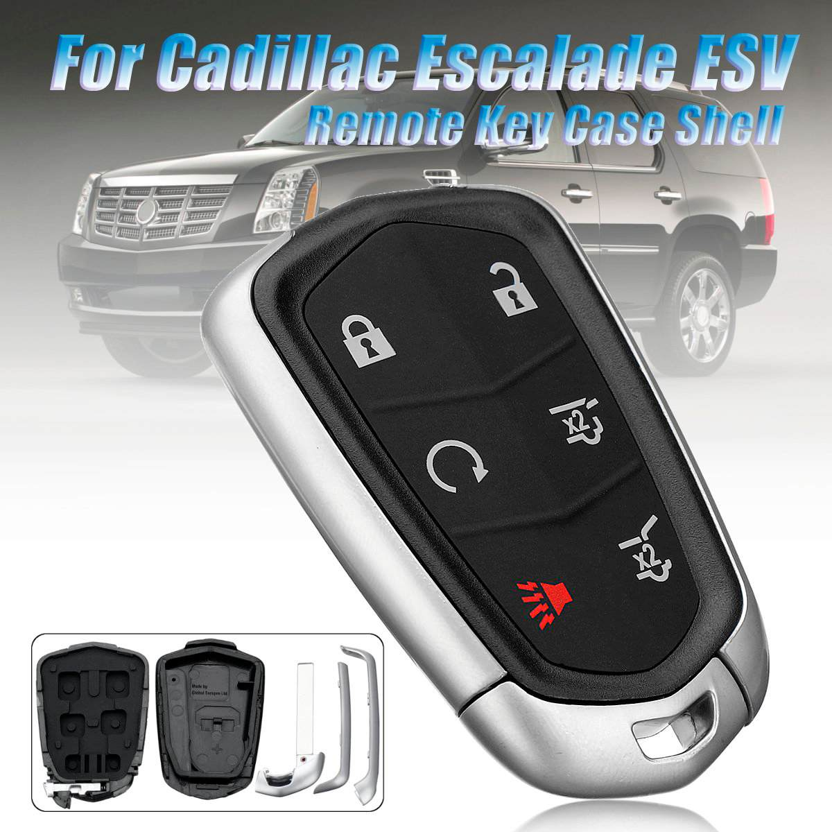 KeylessOption Keyless Entry Remote Smart Key Fob Case Shell Button Pad Cover Housing for Cadillac CTS STS