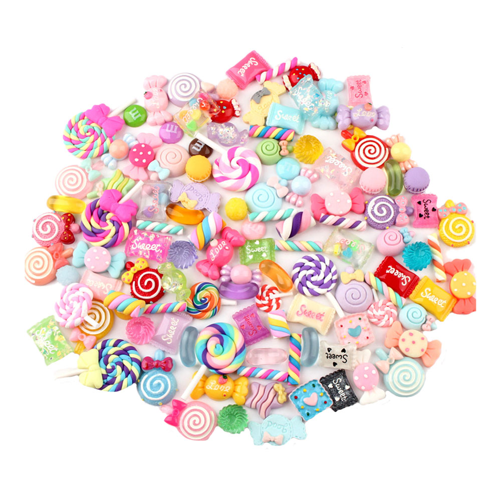 100 Pieces Slime Charms With Mermaid Tail Candy Sugar Dolphin Resin Flatback Of Slime Beads For