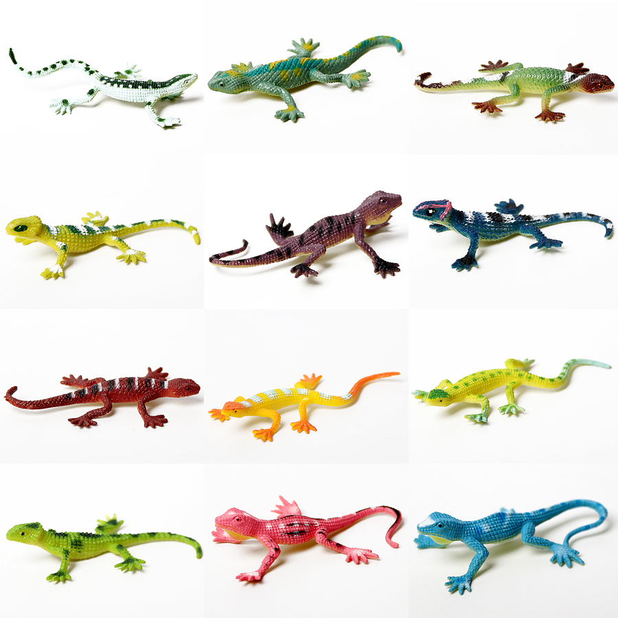 12PCS Assorted Colorful Fake Lizards Action Figure For Reptile Party Simulation PVC Toy Lizards Model Toys For Kids Collection