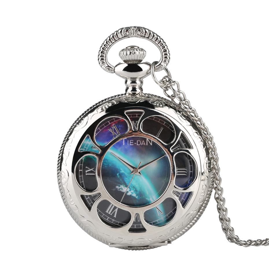 Silver Hollow Cosmic Galaxy Series Theme Quartz Pocket Watch Necklace Pendant Women Men Fob Watches Best Birthday Gifts 2019 New