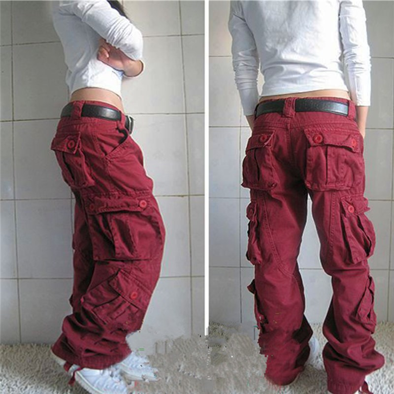 Plus Size Women Cargo   Pants   Pocket Cotton Hip Hop Trousers Safari Style Loose Baggy Military Army Tactical   Pants