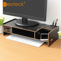 Neoteck Office Desktop Tidy Wooden Monitor Stand Computer Laptop Riser Holder Organizer with Keyboard Mouse Storage Slots