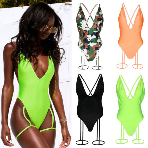 2019 One Piece Women Sexy Deep V Backless Swimsuit Women Swimwear Thighs Camouflage Printed Bathing Suit Monokini Padded Summer