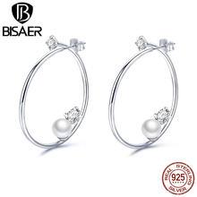 1cbe14e4320a BISAER de plata esterlina 925 caliente gran círculo pendientes de aro perla brillante  para las mujeres ronda minimalista joyería.